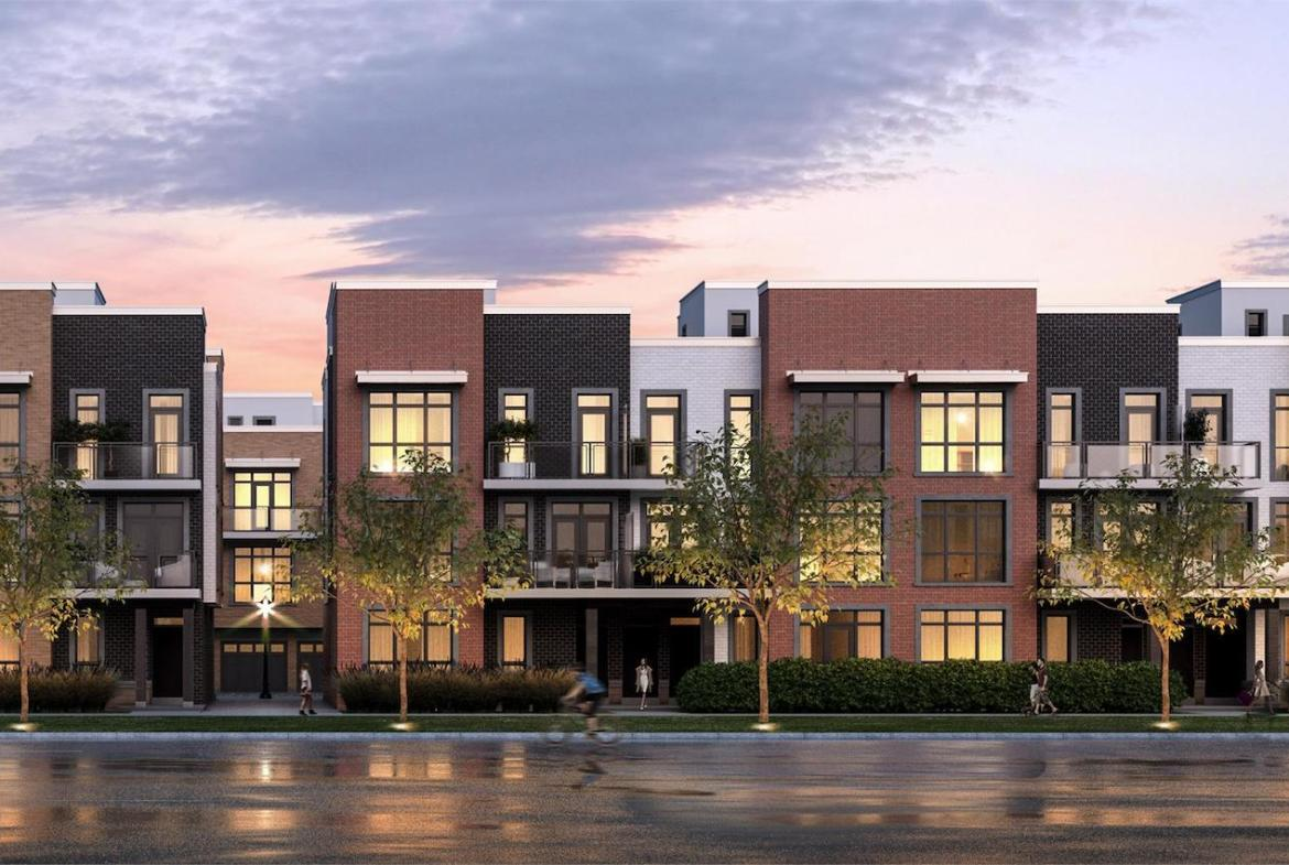 Exterior rendering of The Bond towns street-facing view at dusk.