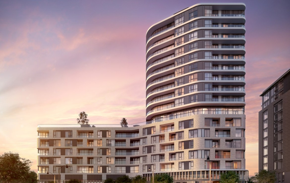 Rendering of The Mackenzie Condos full building exterior.