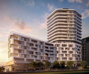 Exterior rendering of The Mackenzie Condos at dusk.