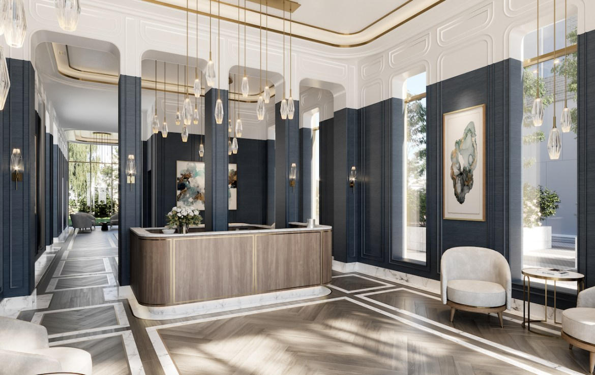 Rendering of The Mackenzie Condos spectacular lobby.