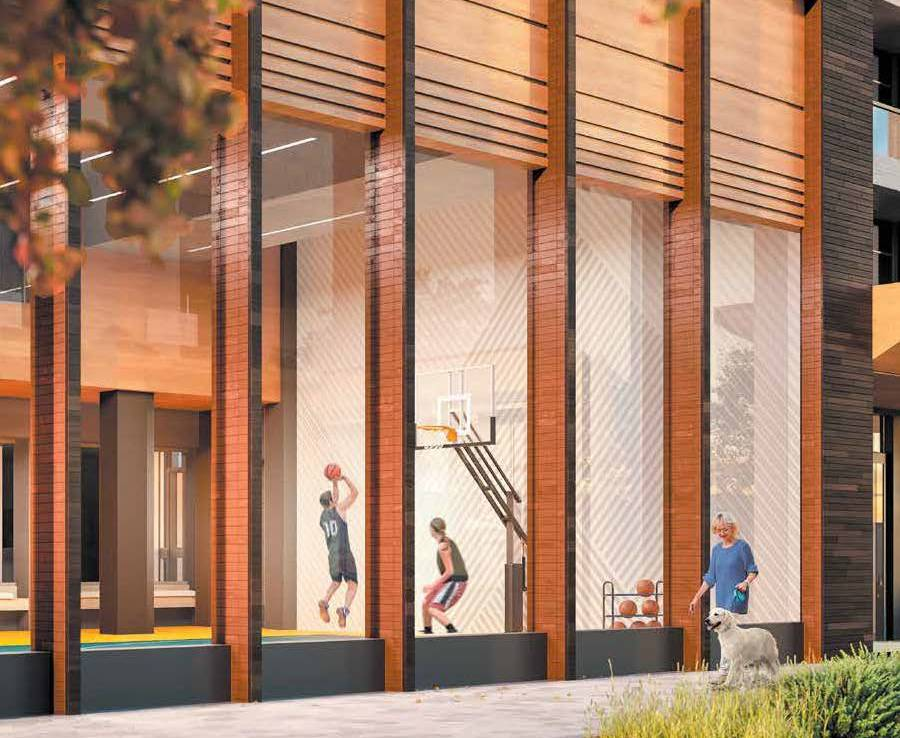 Exterior rendering of The Thornhill Condos basketball court.