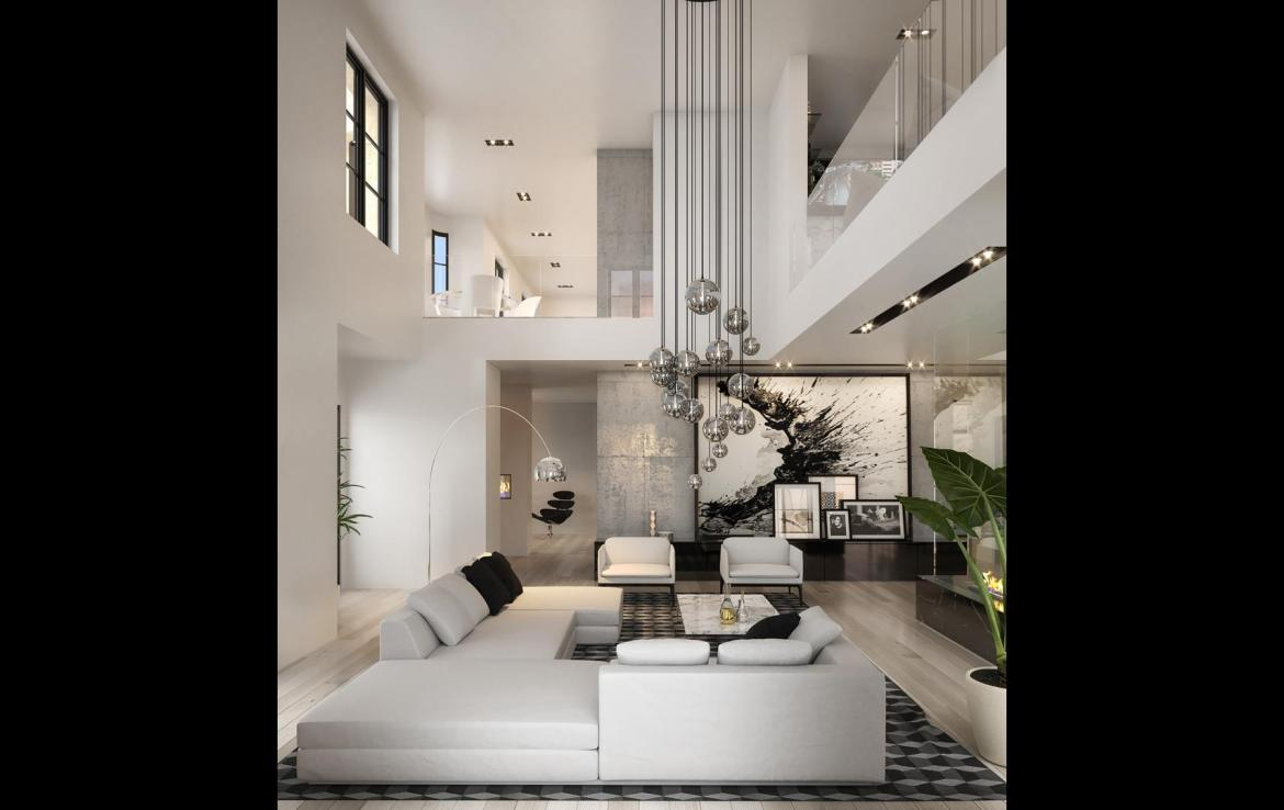 Rendering of 469 Spadina Homes interior loft living room.