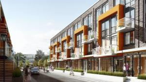 Exterior rendering of 75 Curlew Urban Towns with street surroundings.