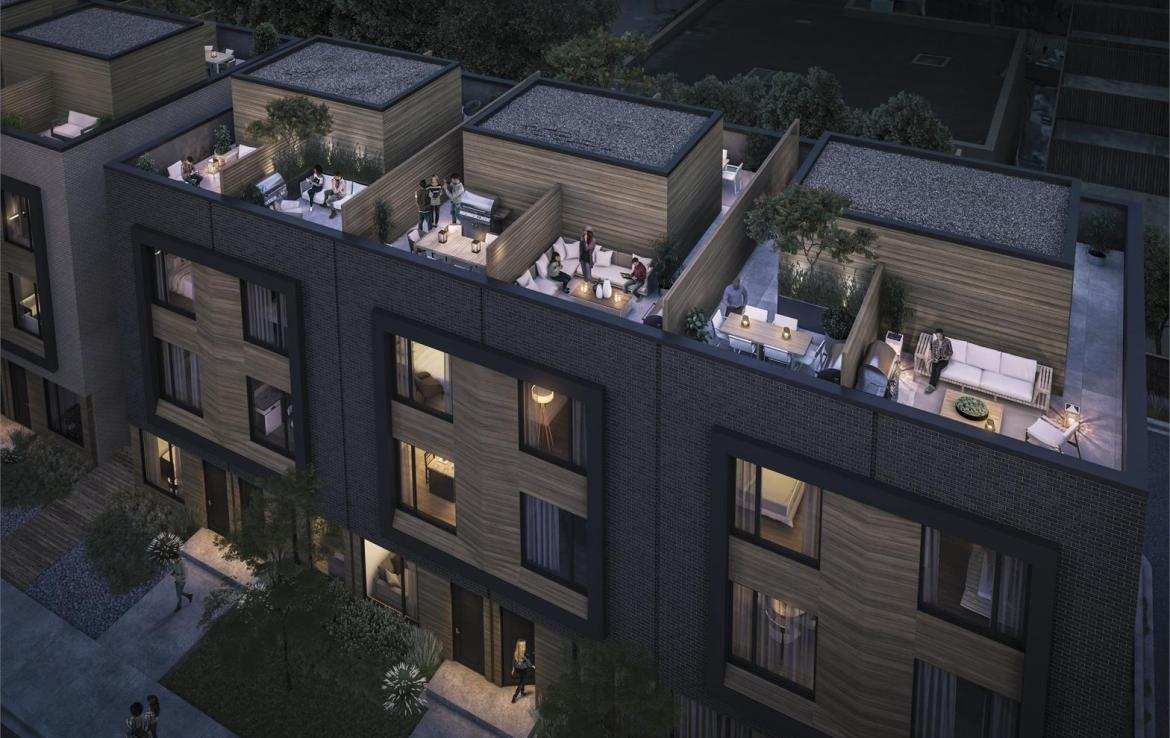 Exterior aerial rendering of Terraces at Eglinton Townhomes during the evening.