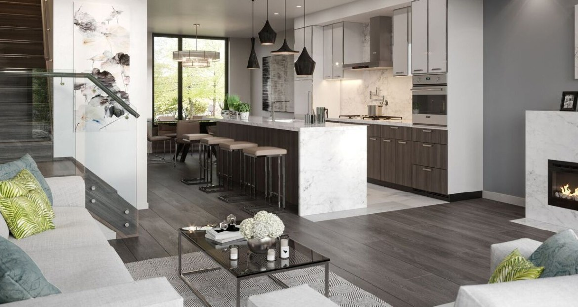 Interior rendering of the Wycliffe Promenade Towns living room and kitchen area.