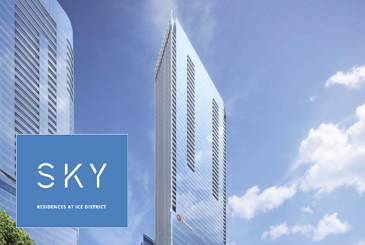 Rendering of SKY Residences Stantec building exterior with logo overlay.