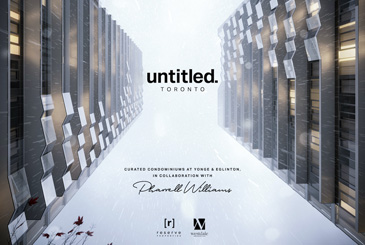 Rendering of Untitled Toronto Condos with the condo logo and Pharrell Williams signature.