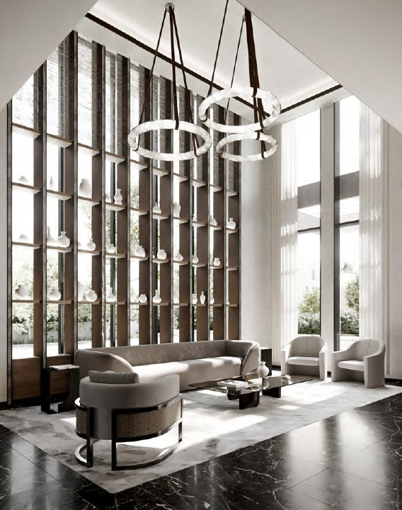 Rendering of The Forest Hill Private Residences lobby.