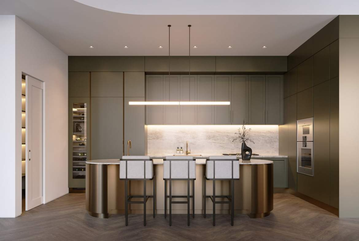 Rendering of One Delisle Penthouse interior kitchen in green