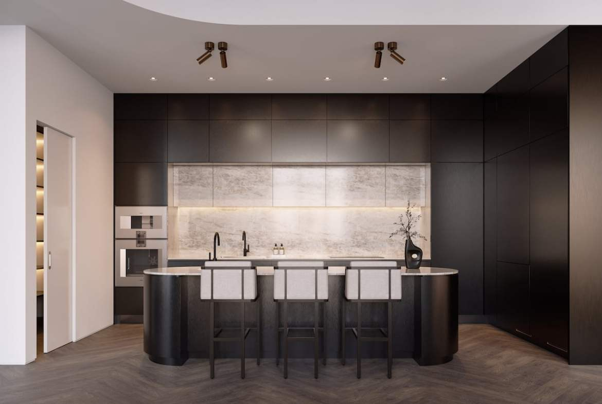 Rendering of One Delisle Penthouse interior kitchen in steel