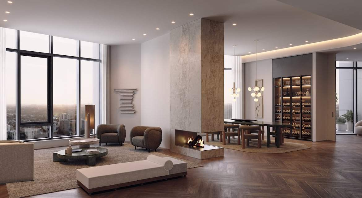 Rendering of One Delisle Penthouse interior living room
