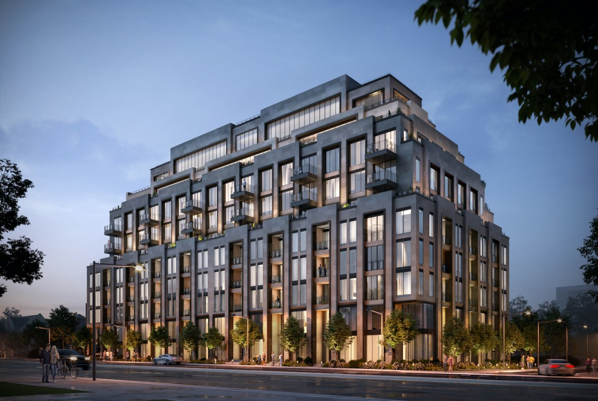 Rendering of Forest Hill Residences South West street view and full building at night.