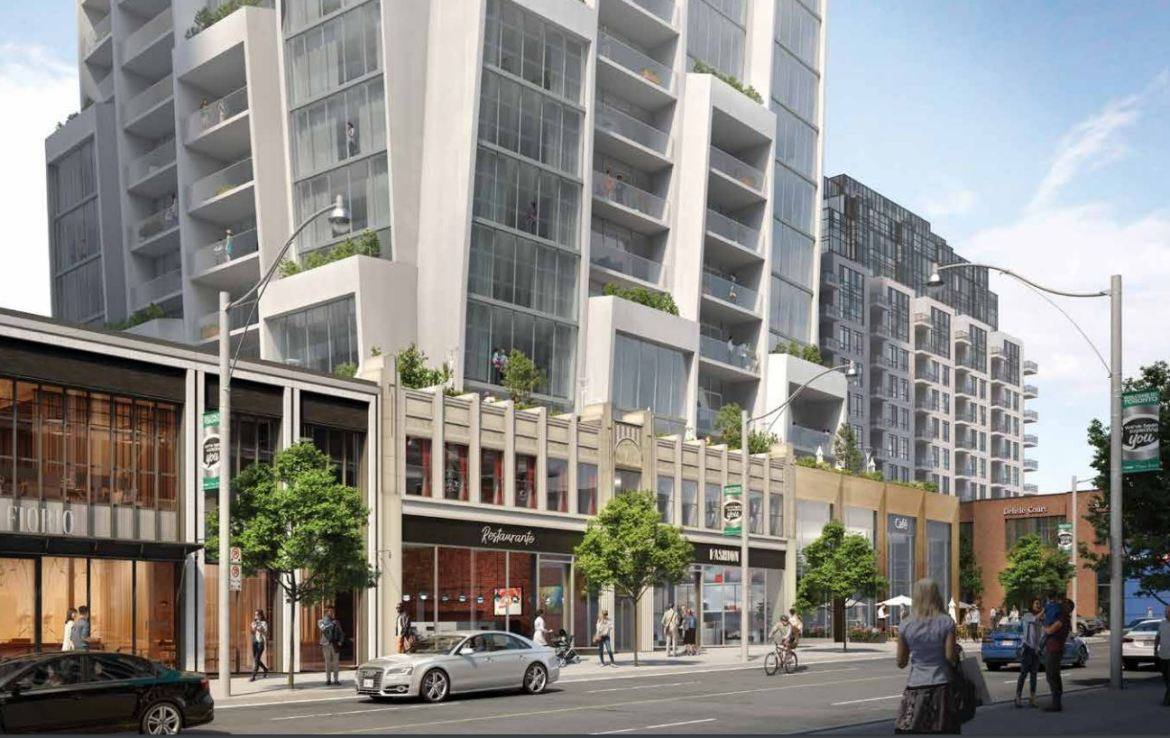 Exterior rendering of One Delisle Condos with main street character.
