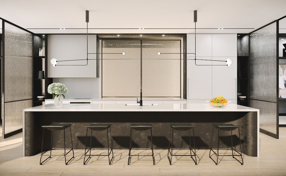 Rendering of 88 Queen Condos Party room with kitchen.