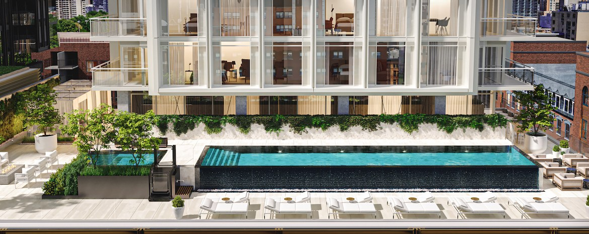 Rendering of 88 Queen Condos swimming pool.