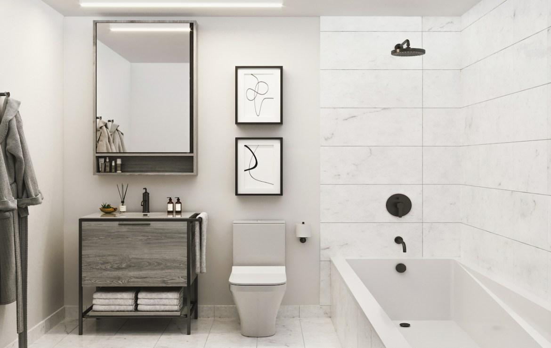 Rendering of 88 Queen Condos suite bathroom.