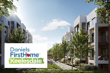 Rendering of Daniels Firsthome Keelsedale towns with logo overlay.