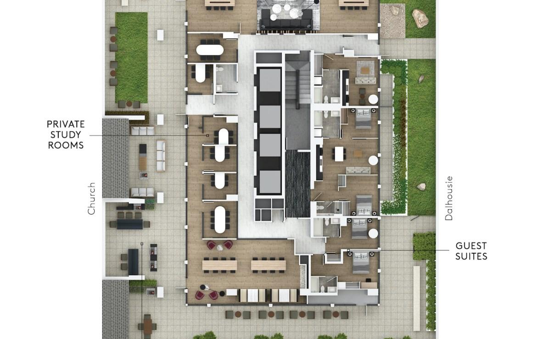 Rendering of 199 Church Condos amenity flat plan level 5.