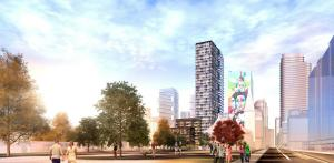 Exterior rendering of 308 Jarvis Condos and surrounding cityscape.