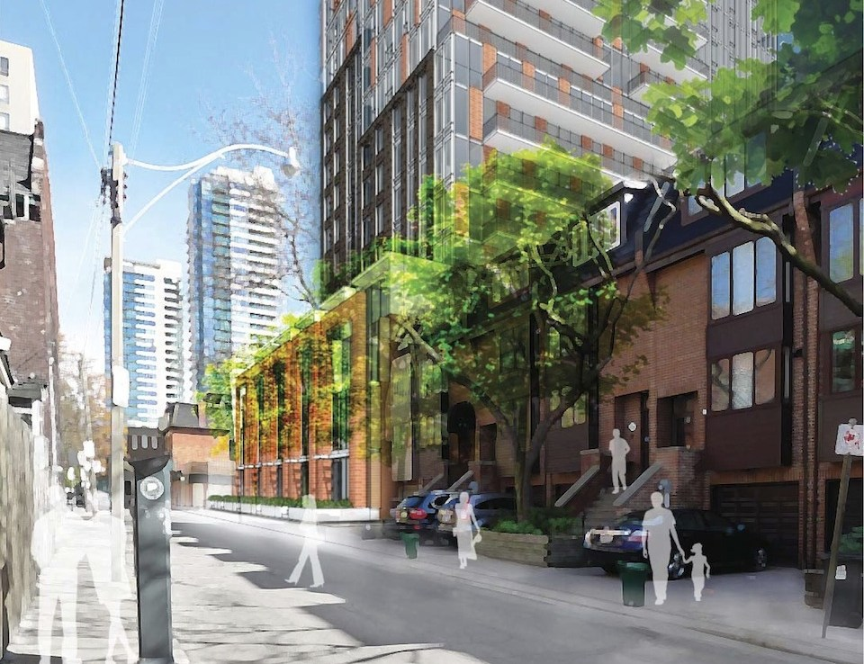 Exterior rendering of 308 Jarvis Condos street area with people on sidewalks.