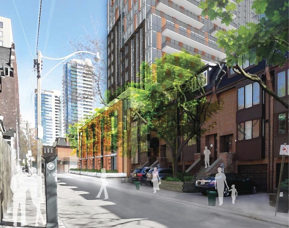 Exterior rendering of 308 Jarvis Condos street area with people on sidewalks.
