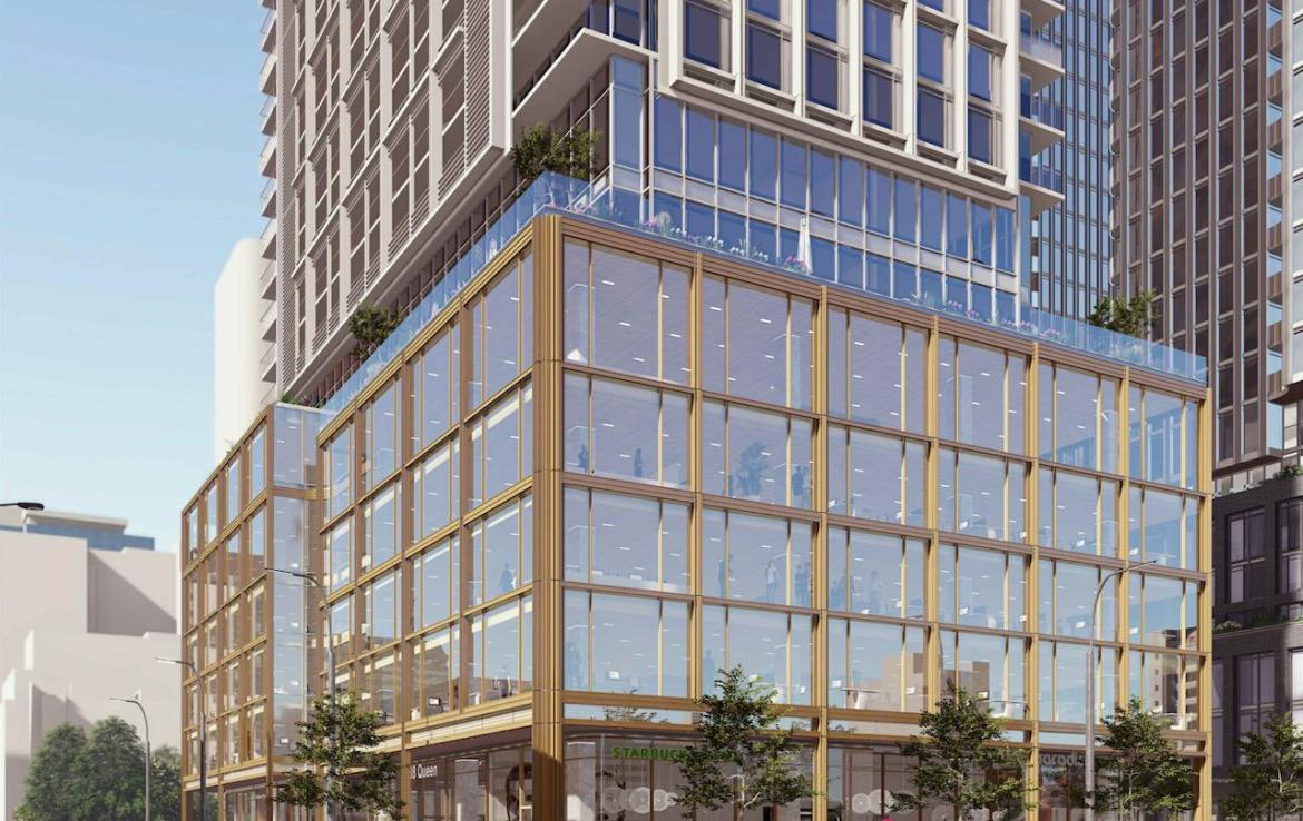 Exterior rendering of 88 Queen Condos podium and street level with retail and restaurants.