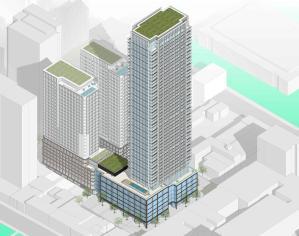 Aerial rendering of 88 Queen Condos siteplan with 3 tall condo buildings.