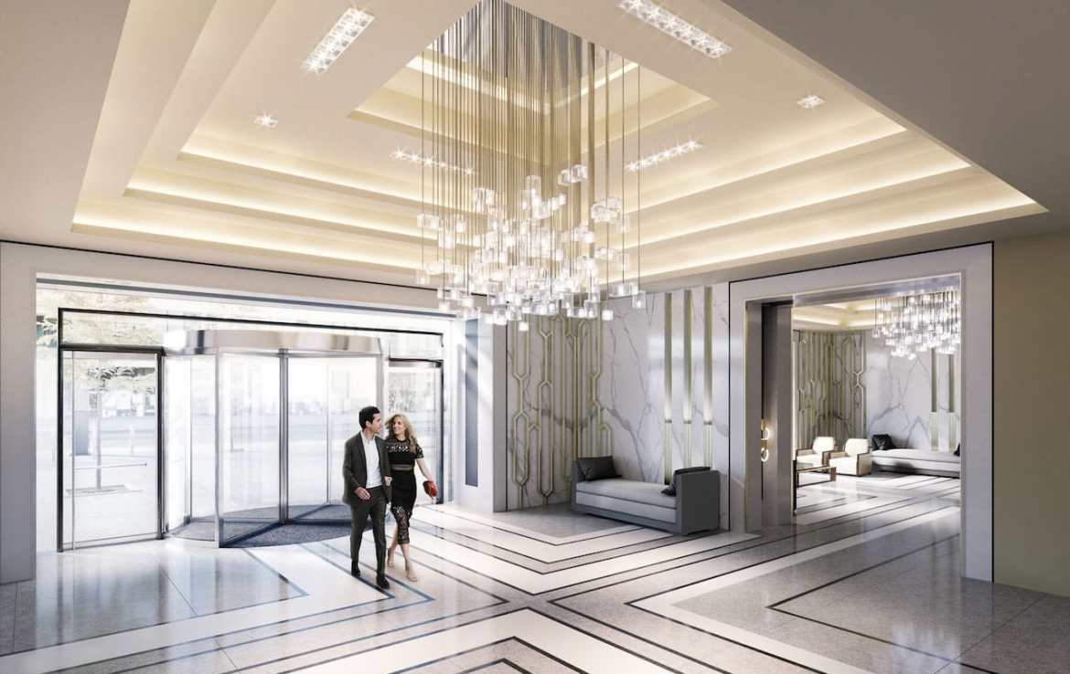 Rendering of One Yonge SkyTower grand lobby.