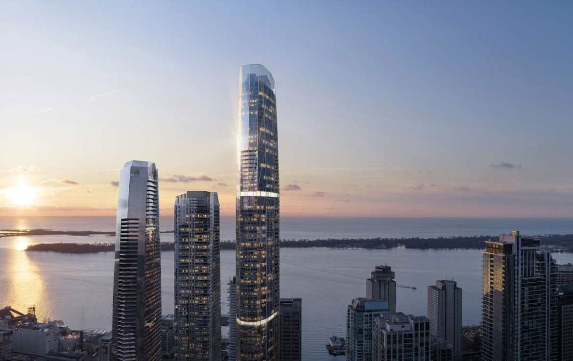 Rendering of One Yonge SkyTower overlooking Lake Ontario.