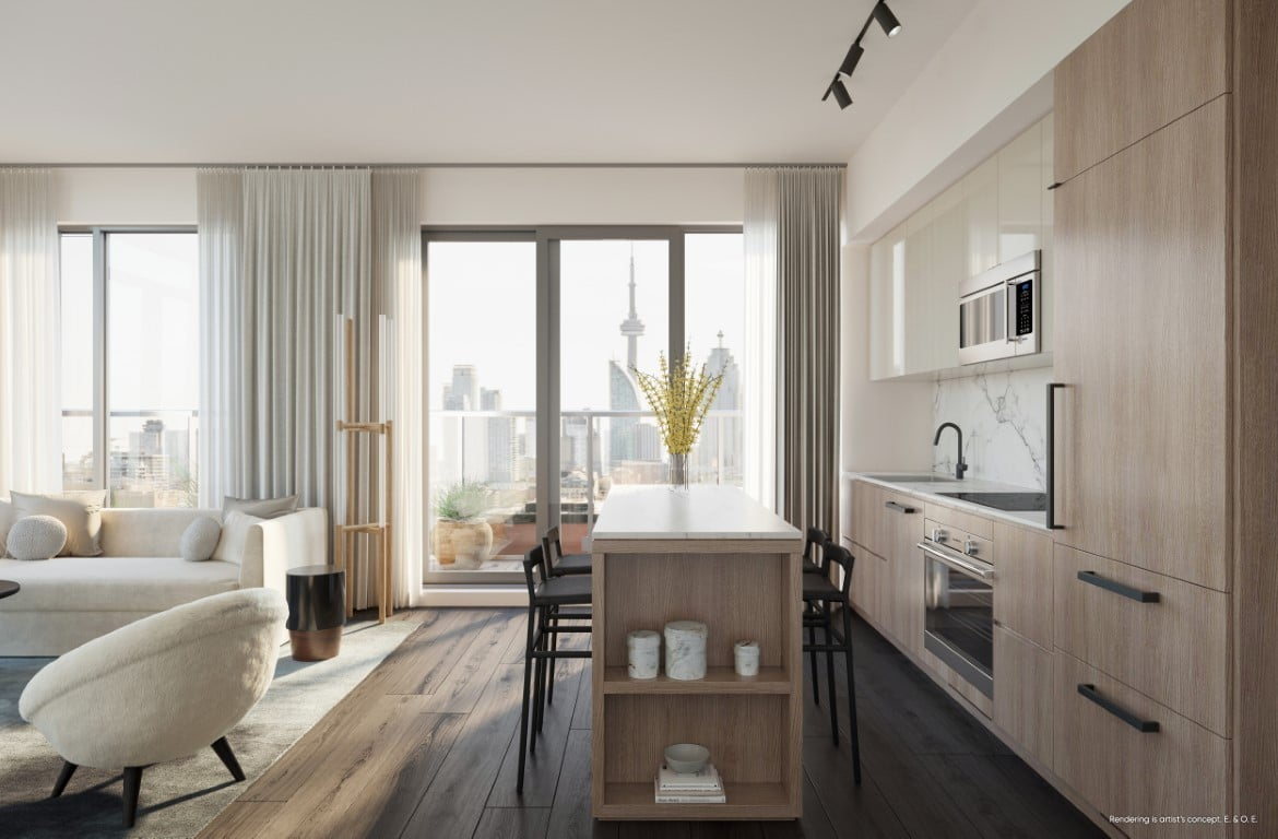 Rendering of Canary House Condos suite interior kitchen