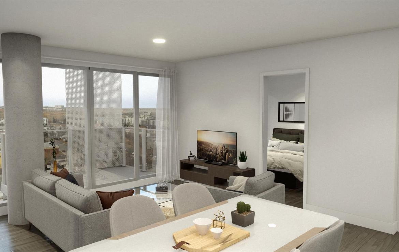 Rendering of Era Condos suite interior open concept living and kitchen area.