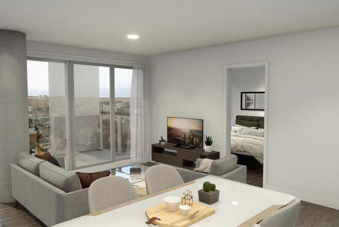 Rendering of Era Condos suite interior open concept living and kitchen area.
