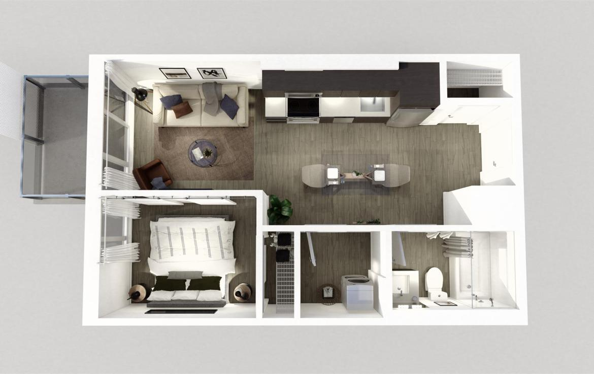 Rendering of Era Condos suite interior 1 bedroom dollhouse.