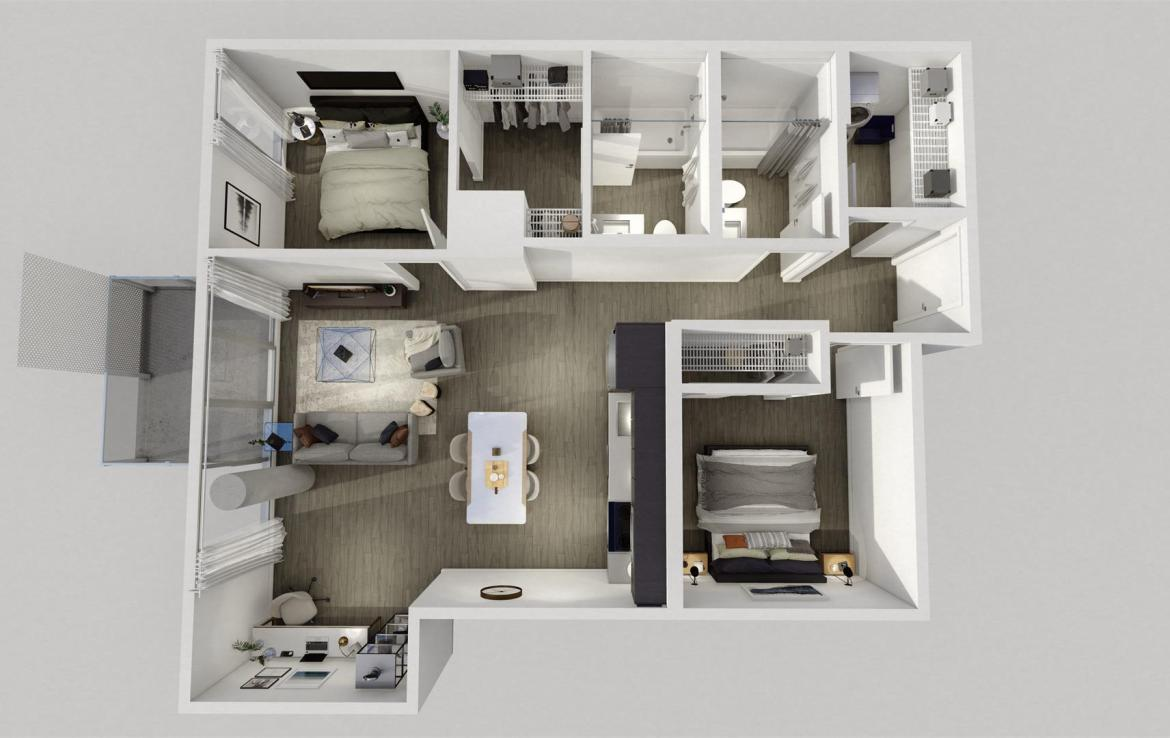 Rendering of Era Condos suite interior 2 bedroom dollhouse.