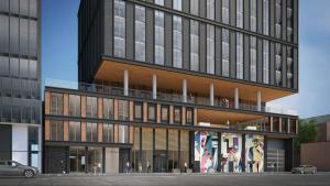 Exterior rendering of MODE Condos lower facade.
