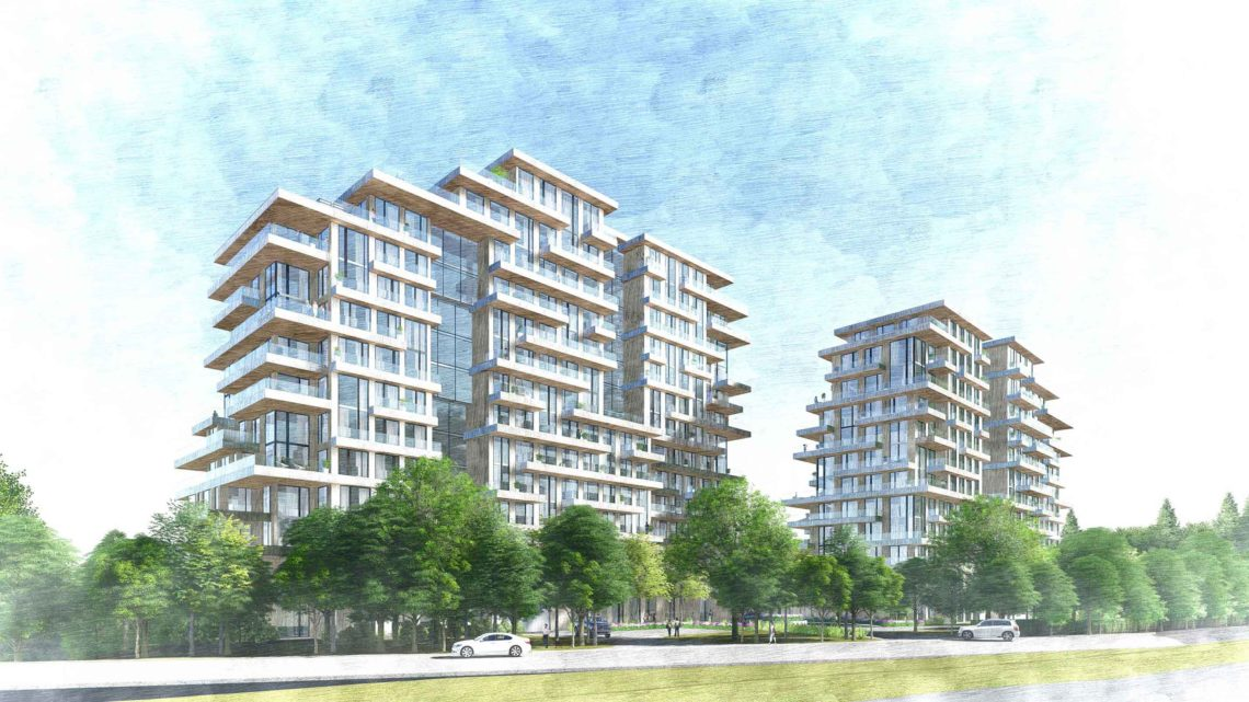 Rendering of Royal Orchard and Bayview 2 condo towers during the day.