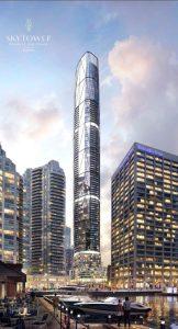 Full exterior rendering of SkyTower condos in Toronto.