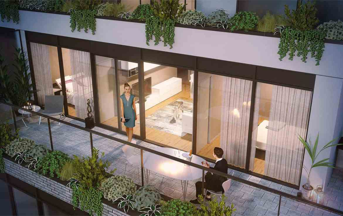 Rendering of THEO Condos Danforth Toronto suite balcony.