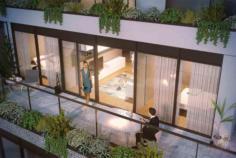 Rendering of THEO Condos Danforth Toronto suite balcony.