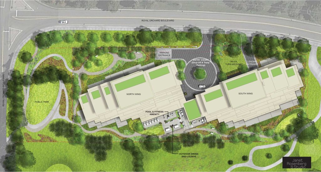 Site plan of Royal Orchard and Bayview condos.