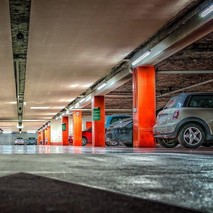 Multi-storey car parking garage in a Toronto condo.