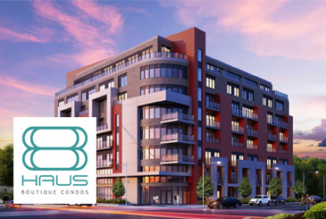 Rendering of 8 Haus Boutique condos with logo overlay.