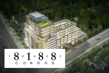 Rendering of 8188 Yonge Condos with logo overlay.