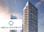 Rendering of Abeja District Condos with logo overlay.