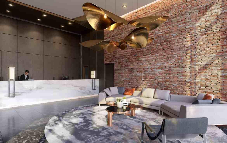 Interior rendering of 8 Haus Boutique condos lobby with concierge desk.
