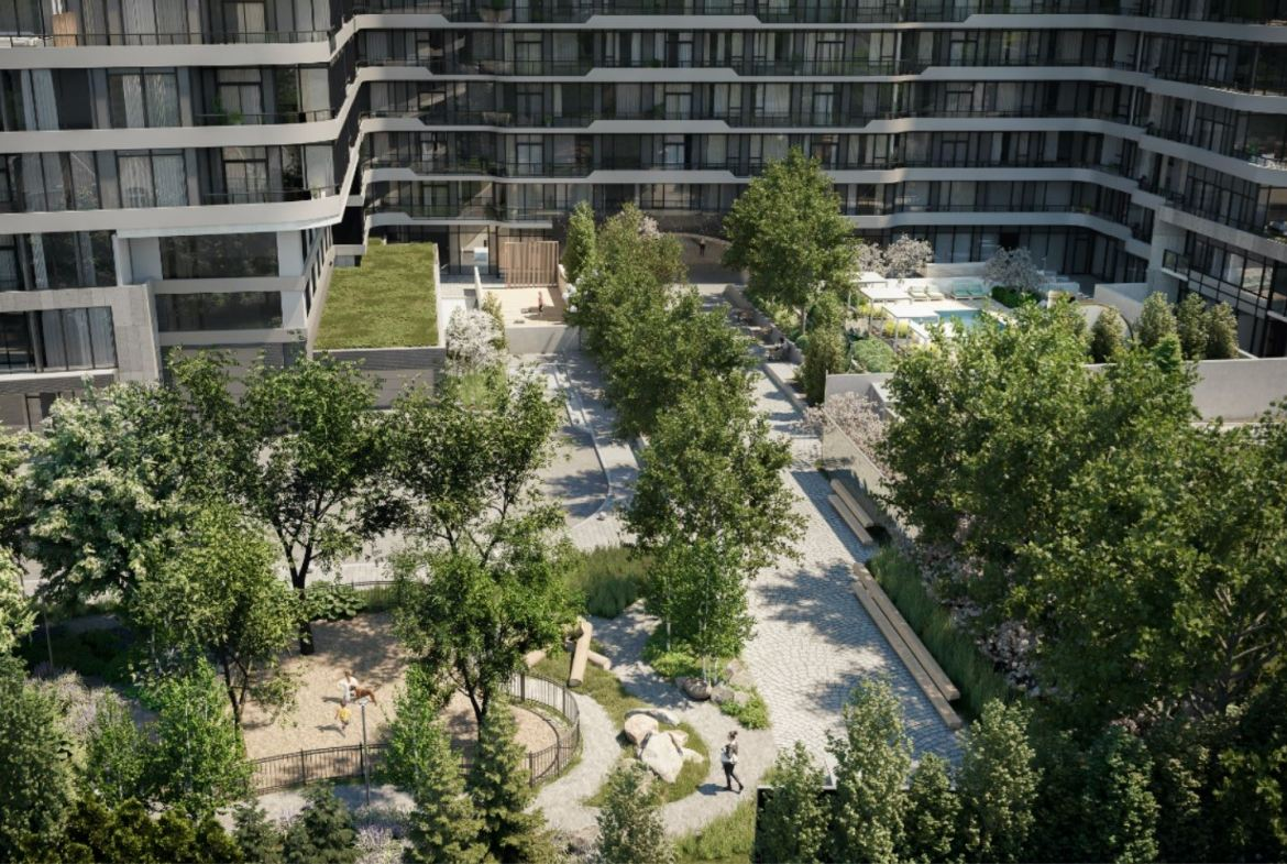 Rendering of 8188 Yonge Condos courtyard.