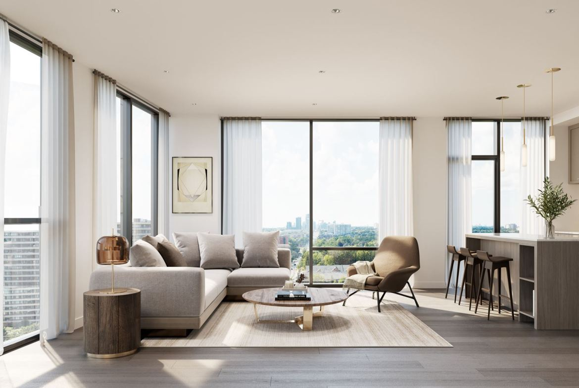 Rendering of 8188 Yonge Condos suite interior living space.