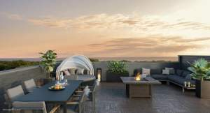 Rendering of Harbour Place Towns rooftop terrace