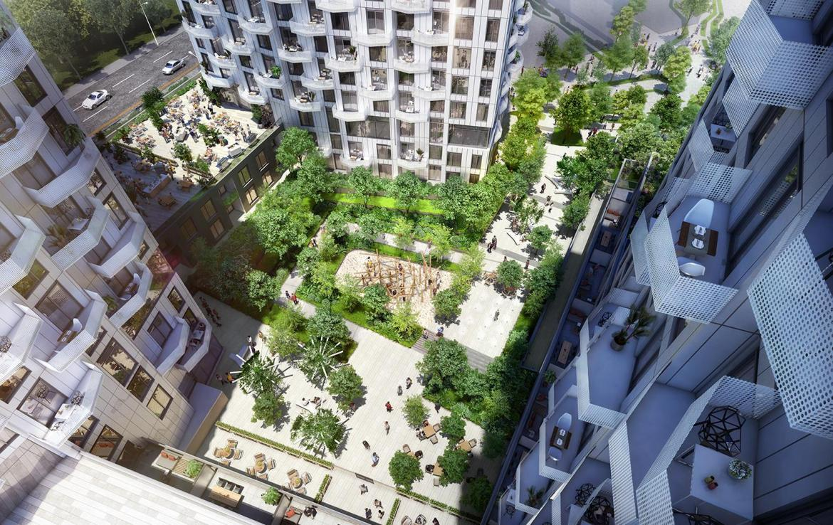 Aerial rendering of Abeja District Condos with center courtyard and playground.