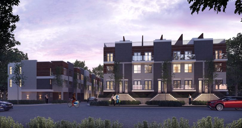 Rendering of Essa Towns exterior at dusk.